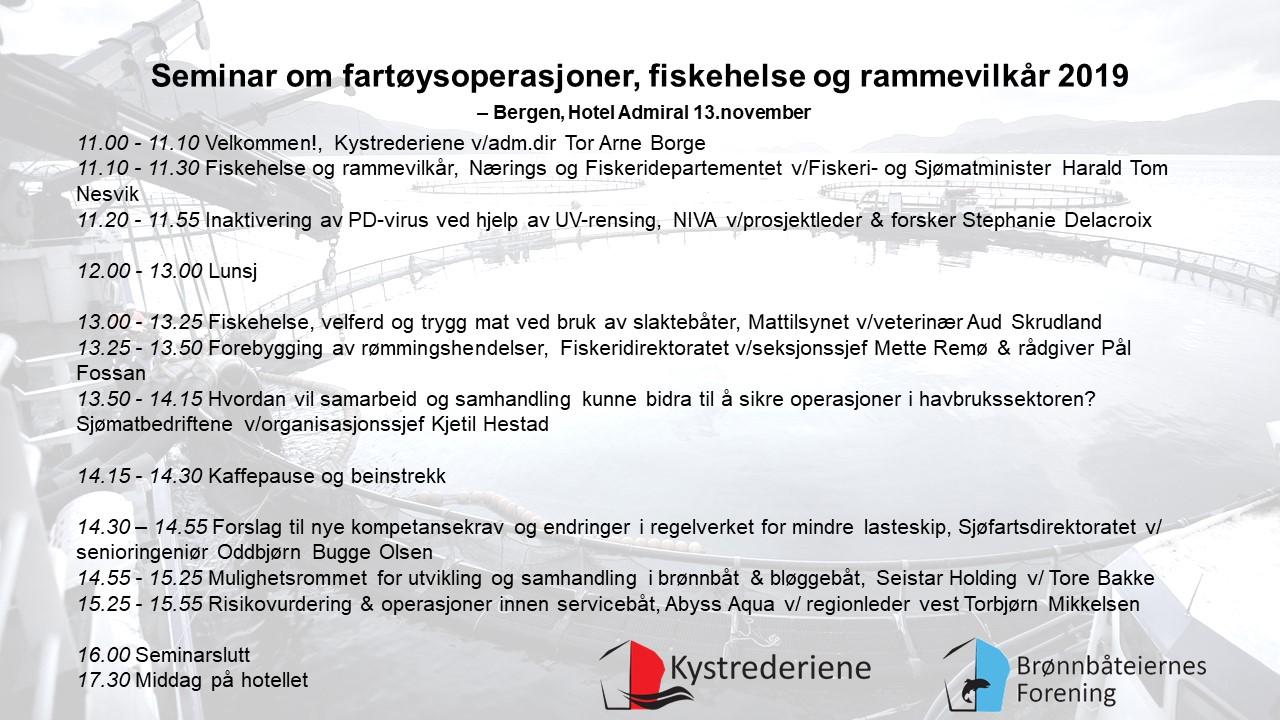 Seminar om fartøysoperasjoner, fiskehelse og rammevilkår 2019